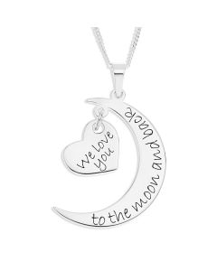 "Sterling Silver Personalised 'I Love You To The Moon And Back' Moon And Heart Pendant on 18"" Curb Chain"