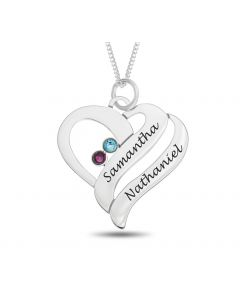 "Sterling Silver Personalised Two Names And Two CZ Birthstones Set Heart Pendant On 18"" Curb Chain"