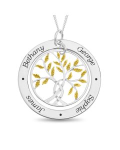 "Sterling Silver Personalised With 4 Names Family Tree Pendant With Gold Plated Leaf Design On 18"" Curb Chain"