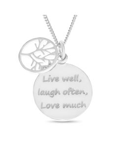 "Sterling Silver Tree Of Life Message Disc Pendant On 18"" Curb Chain"