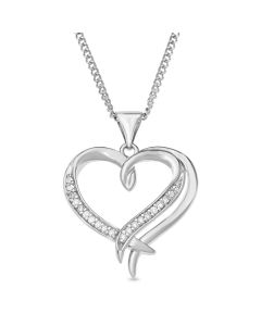 "Rhodium Plated Silver Diamond Set Heart Pendant on 18"" Curb Chain"
