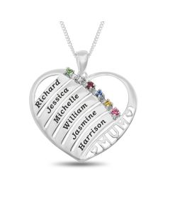 "Sterling Silver Personalised 6 Names And 6 CZ Birthstones Set Heart Pendant On 18"" Curb Chain"