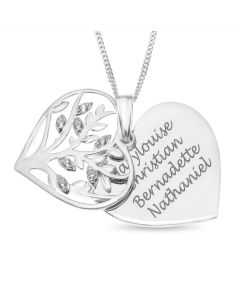 "Sterling Silver Personalised CZ Set Heart Family Tree Pendant On 18"" Curb Chain"