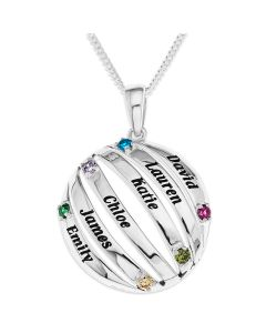"Sterling Silver Personalised Six Names and CZ BirthStones Round Pendant On 18"" Curb Chain"
