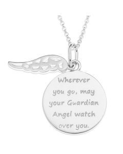 "Silver Message Disc And Angel Wing Charm Pendant On 18"" Micro Belcher Chain"