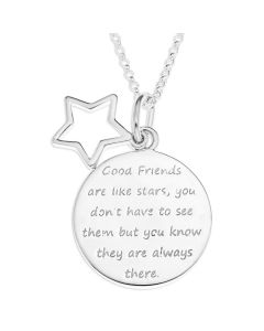 "Silver Friendship Message Disc And Open Star Charm Pendant On 18"" Micro Belcher Chain"