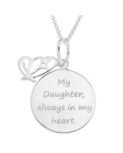 "Sterling Silver Daughter Message Disc And Butterfly Charm Pendant On 18"" Micro Belcher Chain"