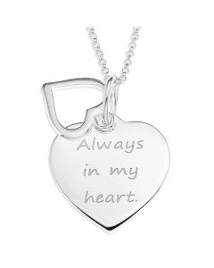 "Sterling Silver Message Hearts Pendant On 18"" Micro Belcher Chain"