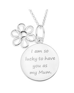 "Sterling Silver Message Disc And Flower Charm Pendant On 18"" Micro Belcher Chain"