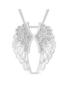 "Sterling Silver Cubic Zirconia Set Angel Wings Pendant On 18"" Curb Chain"