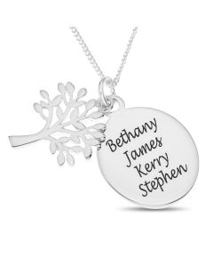 "Sterling Silver Personalised Four Names Family Disc With Tree Of Life Charm On 18"" Curb Chain"
