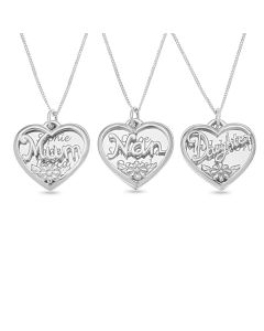 "Sterling Silver Personalised 'Nan', 'Mum' or 'Daughter' Heart Disc Pendant On 18"" Curb Chain"