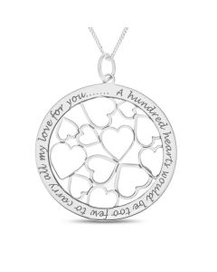 "Sterling Silver Love Message Circle With Cut Out Hearts Pendant On 18"" Curb Chain"