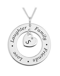 "Sterling Silver Personalised Message Disc With One Initial Dia Set Heart Charm On 18"" Curb Chain"