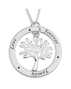 "Silver Family Circle With Tree Of Life Charm On 18"" Curb Chain"