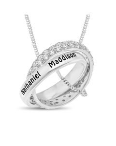 "Sterling Silver Two Clear CZ Set And Personalised Plain Linked Rings on 18"" Curb Chain"