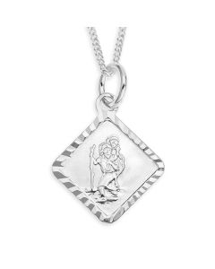"Sterling Silver Personalised St. Christopher Pendant On 18"" Curb Chain"