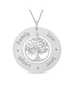 "Sterling Silver LIVE LOVE LAUGH FAMILY Circle With Tree Of Life Charm Pendant On 18"" Curb Chain"