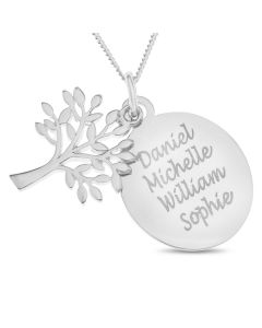 "Sterling Silver Personalised Four Names Oval Disc And Tree Of Life Pendant On 18"" Curb Chain"