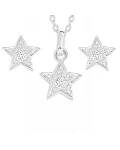 Sterling Silver CZ Star Earring And Pendant Set