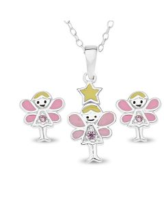 "Sterling Silver Enamel With Pink Cubic Zirconia Fairy Set Of Stud Earrings And Pendant On 14"" Trace Chain"