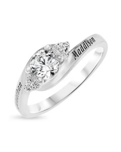 Sterling Silver Personalised With 2 Names White Topaz Ring