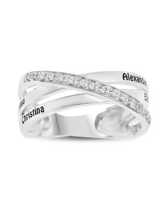 Sterling Silver Personalised Mother's White Topaz Double Row Crossover Ring