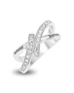 Sterling Silver Personalised White Topaz Set Crossover Loop Ring