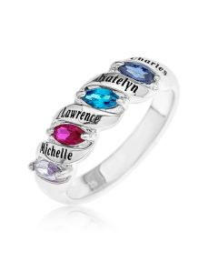 Sterling Silver Personalised 4 Birthstones And 4 Names Family Ring