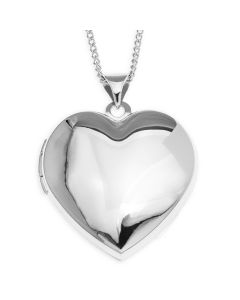 "Rhodium Plated Silver Plain Heart Locket On 18"" Curb Chain"