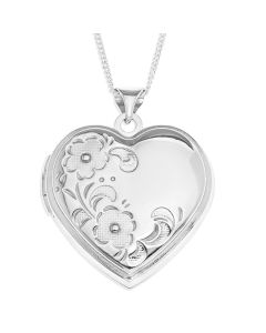 "Sterling Silver Flower Heart Locket On 18"" Curb Chain"