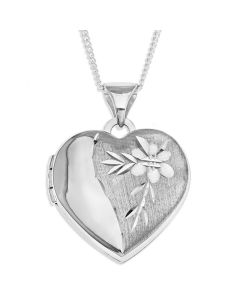 "Sterling Silver Dia Cut Flower Heart Locket On 18"" Curb Chain"