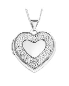 "Sterling Silver Crystal Heart Locket On 18"" Curb Chain"
