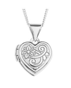 "Sterling Silver Heart Locker On 18"" Curb Chain"