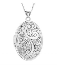 "Sterling Silver Engraved Pattern Oval Locket On 18"" Curb Chain"