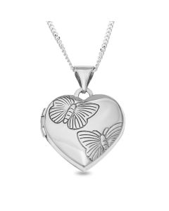 "Sterling Silver Butterfly Heart Locket On 18"" Curb Chain"