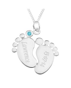 """Sterling Silver Personalised Baby Feet CZ  Set Pendant On 18"""" Curb Chain"""