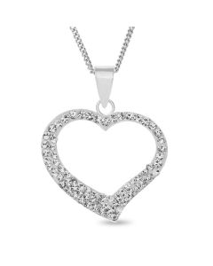 "Sterling Silver Crystal Set Open Heart Pendant On 18"" Curb Chain"