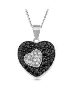 "Rhodium Plated Silver Black And White Cubic Zirconia Heart Pendant On 18"" Curb Chain"