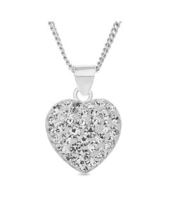 "Sterling Silver White Crystal Heart Pendant On 18"" Curb Chain"