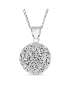 "Sterling Silver Crystal Set Ball Pendant On 18"" Curb Chain"