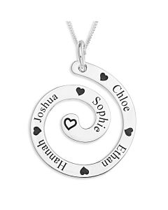 "Sterling Silver Five Names And Hearts Spiral Pendant On 18"" Curb Chain"