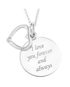 "Sterling Silver Love Message Disc And Dia Heart Pendant On 16"" Micro Belcher Chain"