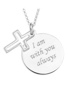 "Sterling Silver Message Disc And Cross Pendant On 16"" Micro Blecher Chain"