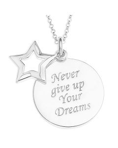 "Sterling Silver Sentiment Dreams Message Pendant On 18"" Curb Chain"