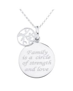 "Sterling Silver Femily Message Disc With Tree Of Life Charm Pendant On 16"" Belcher Chain"