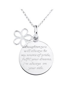 "Sterling Silver Disc Message For Daughter With Flower Charm Pendant On 16"" Micro Belcher Chain"