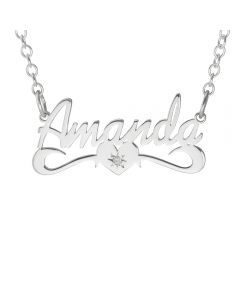 "Sterling Silver Personalised Dia Set Name Plate With A Bar Necklace On 16"" Trace Chain."