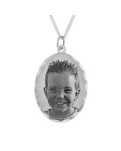 "Sterling Silver Personalised Portrait Photo Pendant on 18"" Curb Chain"