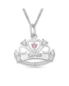"Sterling Silver Cubic Zirconia And Dia Personalised Crown Pendanton 16"" Curb Chain"